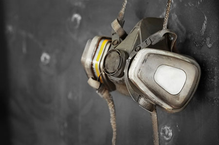 Respirator Hanging On A Wall